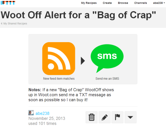 Get an Alert when Woot publishes a Bag of Crap